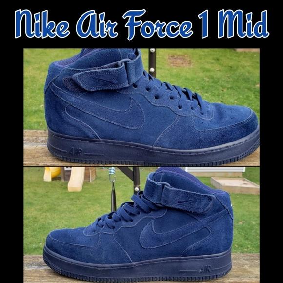 2017 Latest Nike Air Force 1 Mid Boys Shoes Binary Blue